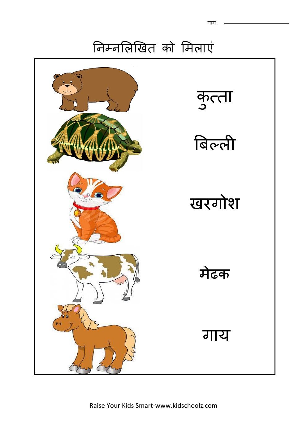 Hindi- Animals Worksheet 2 - Kidschoolz