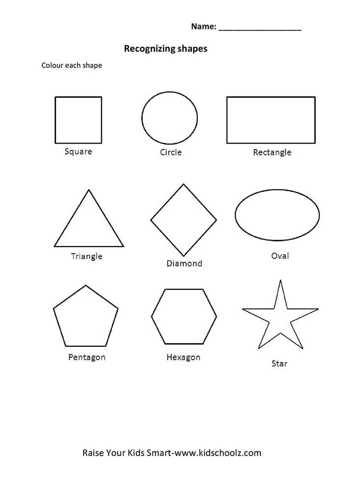 Colouring Worksheets – Geometric Shapes - Kidschoolz