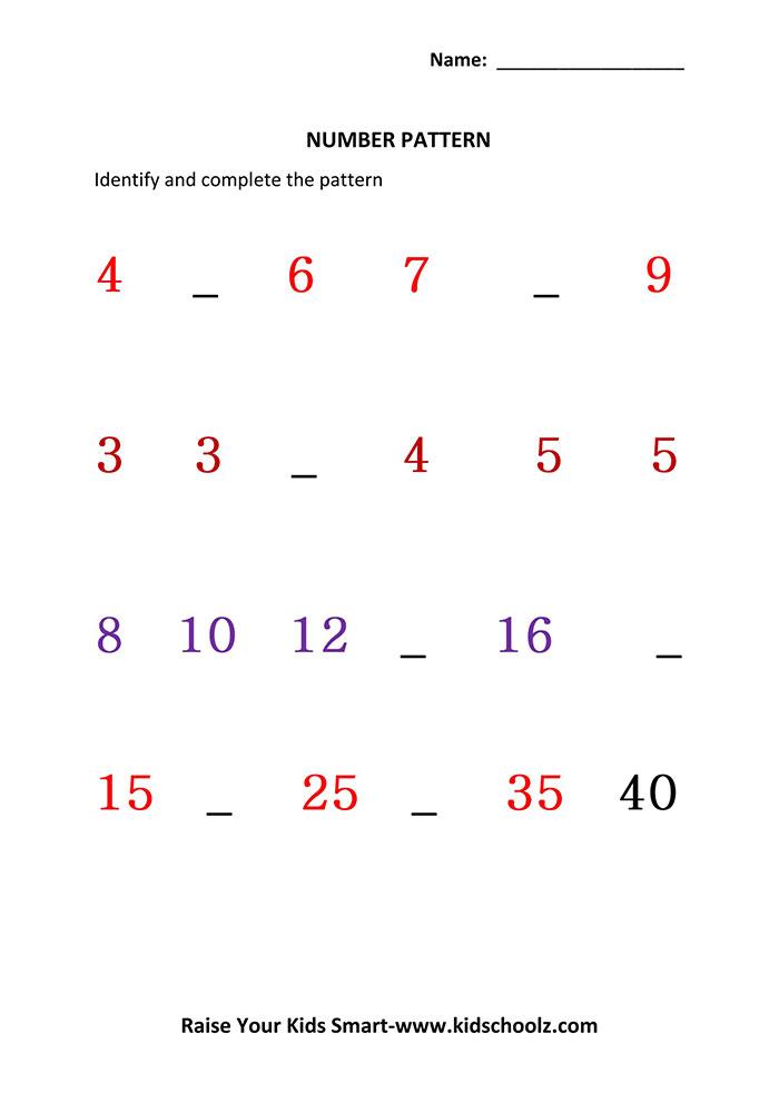 Identify Missing Number Worksheets - UKG - Kidschoolz