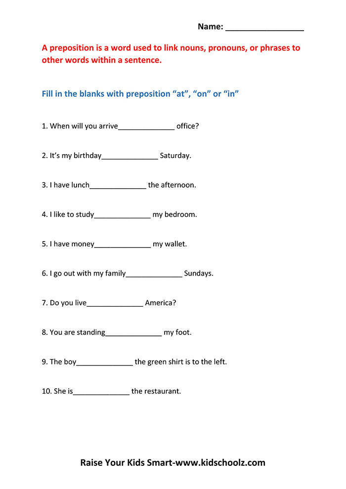 Printable Worksheets worksheets on prepositions for grade 1 : Grade 3 - Prepositions Worksheet 5 - Kidschoolz
